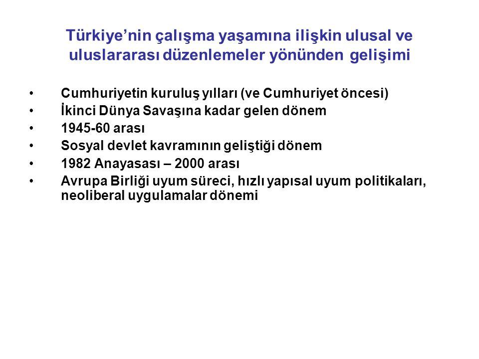 Türkiye'nin çalışma yaşamına ilişkin ulusal ve uluslararası düzenlemeler yönünden gelişimi