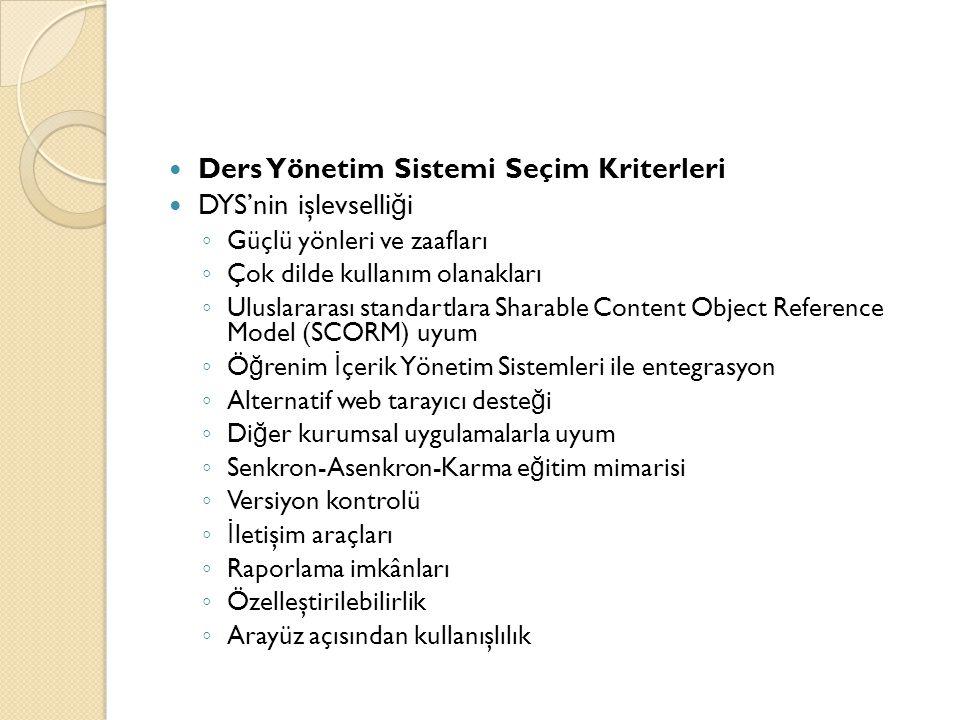 Ders Yönetim Sistemi Seçim Kriterleri DYS'nin işlevselliği