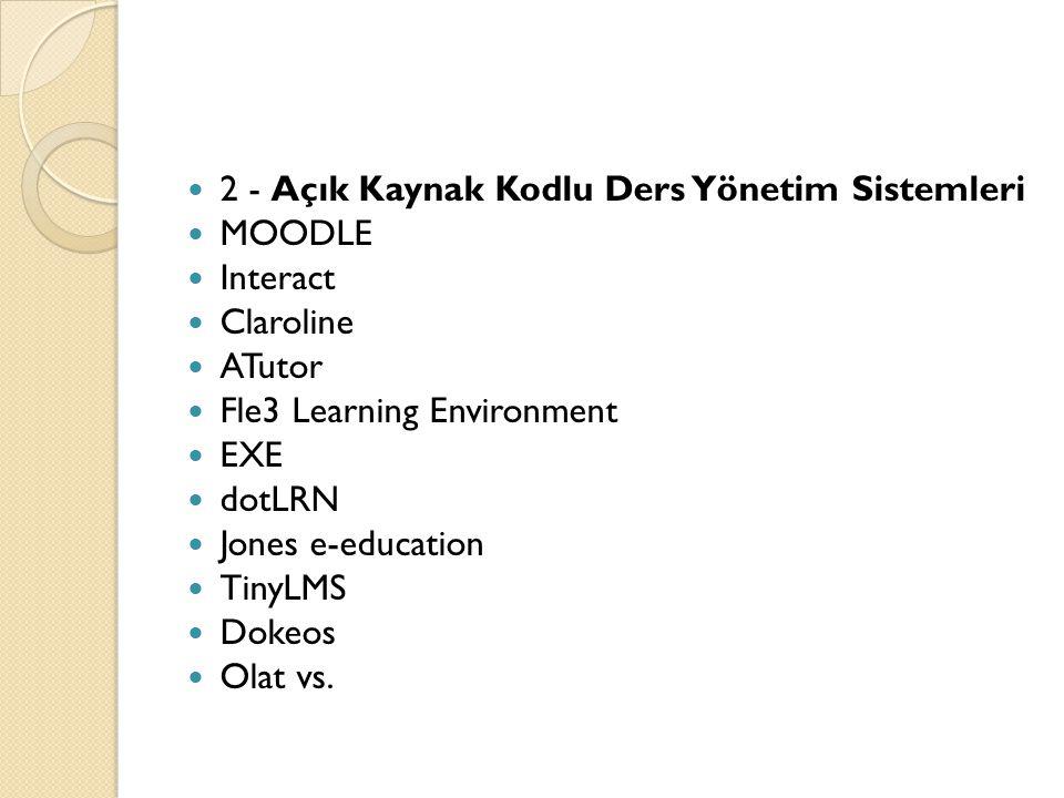 2 - Açık Kaynak Kodlu Ders Yönetim Sistemleri