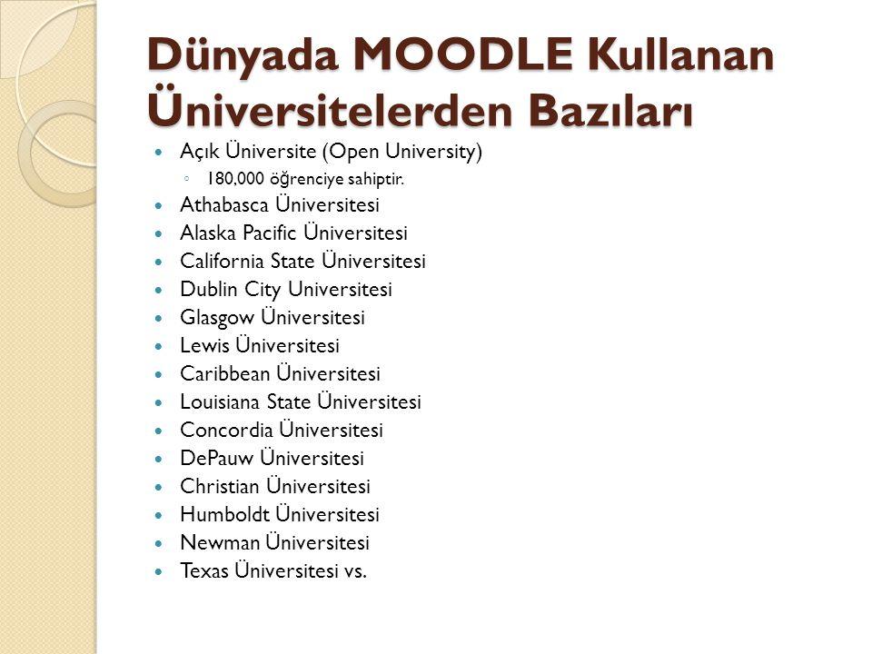 Dünyada MOODLE Kullanan Üniversitelerden Bazıları
