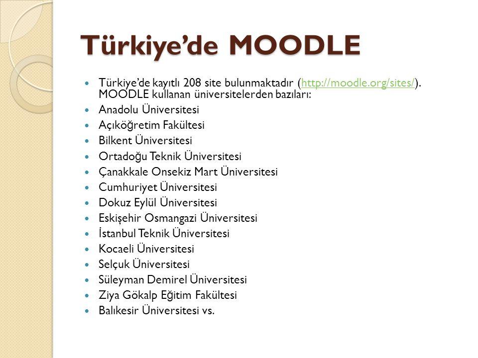 Türkiye'de MOODLE Türkiye'de kayıtlı 208 site bulunmaktadır (http://moodle.org/sites/). MOODLE kullanan üniversitelerden bazıları:
