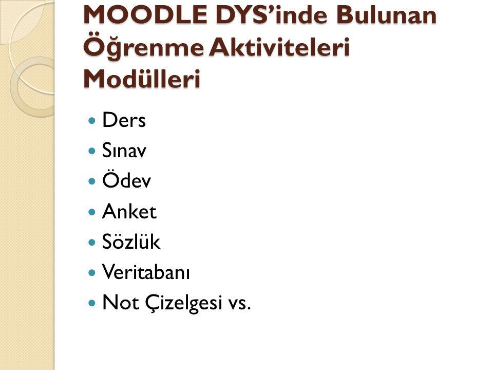 MOODLE DYS'inde Bulunan Öğrenme Aktiviteleri Modülleri