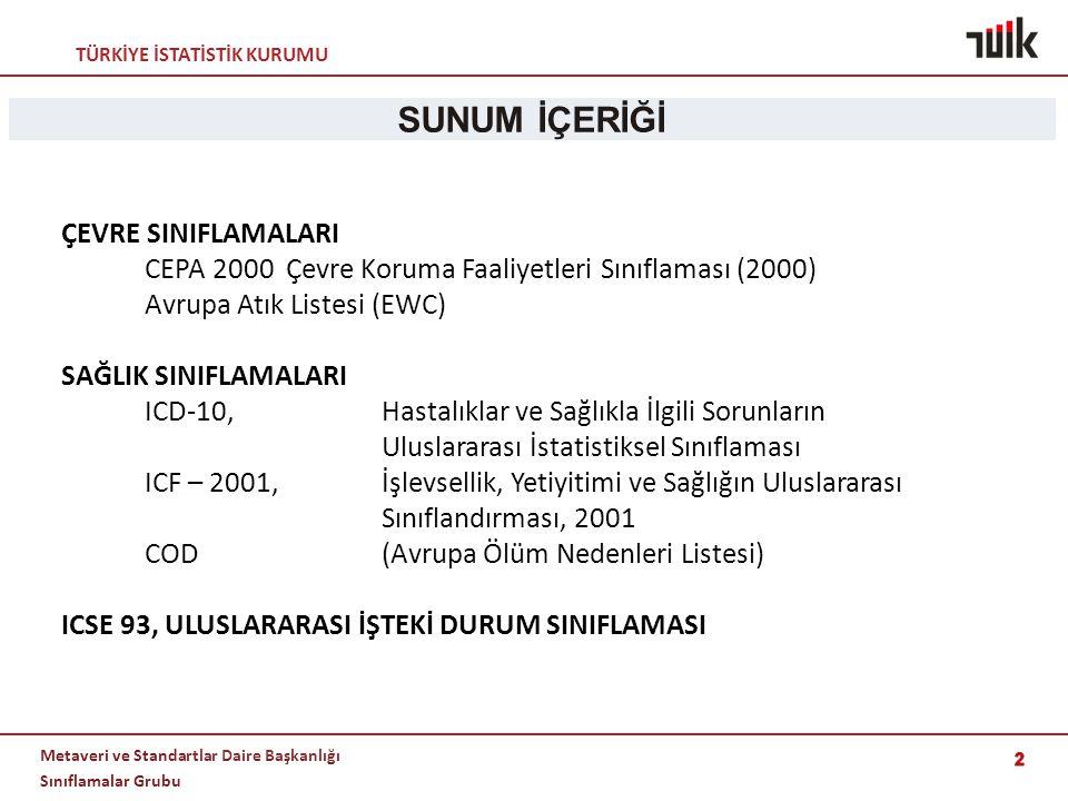 SUNUM İÇERİĞİ ÇEVRE SINIFLAMALARI CEPA 2000 Çevre Koruma Faaliyetleri Sınıflaması (2000) Avrupa Atık Listesi (EWC)