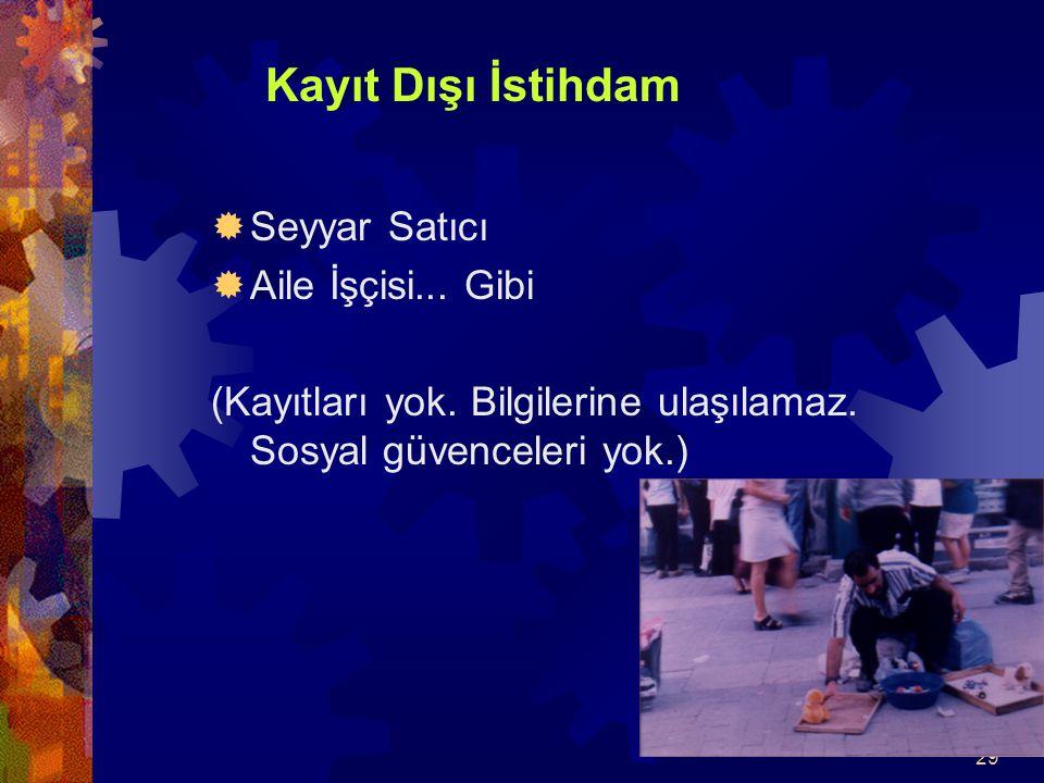 Kayıt Dışı İstihdam Seyyar Satıcı. Aile İşçisi...