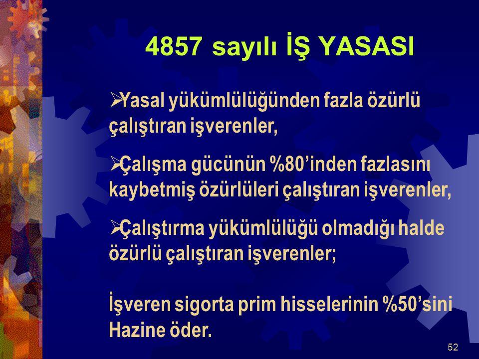 4837 sayılı İş Yasasına göre teşvikler: 4857 sayılı İŞ YASASI