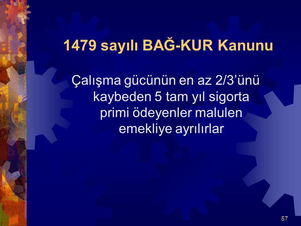 1479 sayılı BAĞ-KUR Kanunu Çalışma gücünün en az 2/3'ünü kaybeden 5 tam yıl sigorta primi ödeyenler malulen emekliye ayrılırlar.