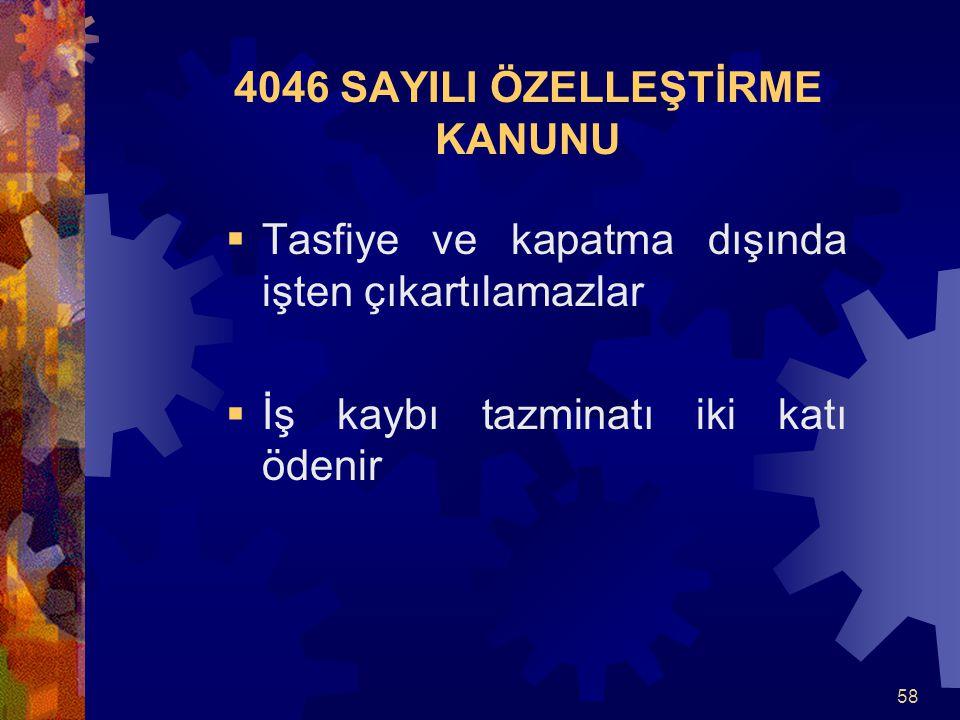 4046 SAYILI ÖZELLEŞTİRME KANUNU