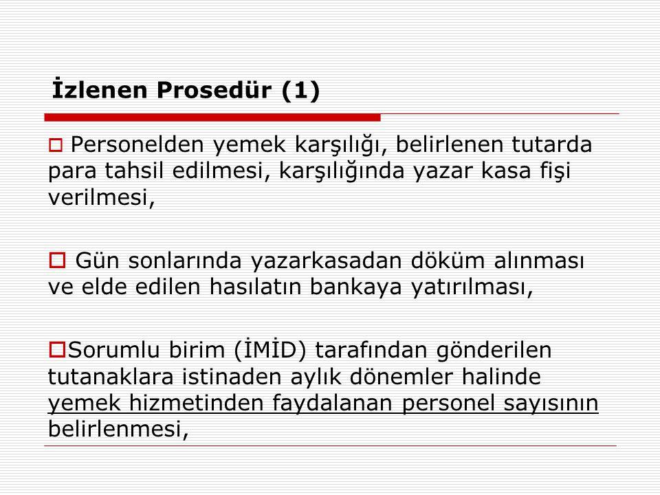 İzlenen Prosedür (1) Personelden yemek karşılığı, belirlenen tutarda para tahsil edilmesi, karşılığında yazar kasa fişi verilmesi,