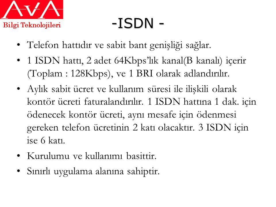 -ISDN - Telefon hattıdır ve sabit bant genişliği sağlar.