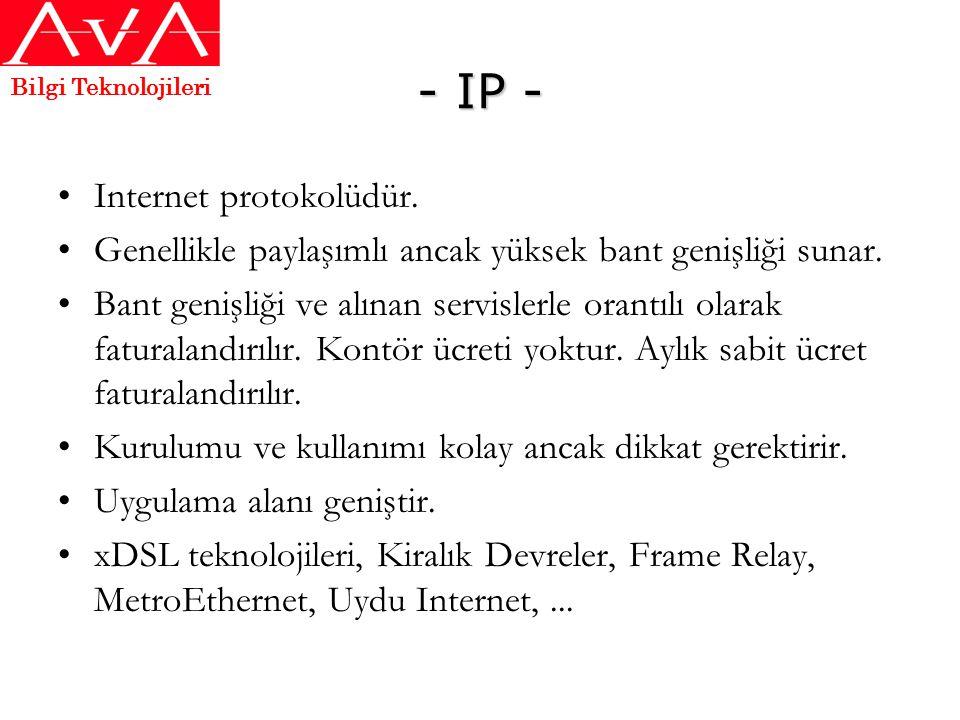 - IP - Internet protokolüdür.