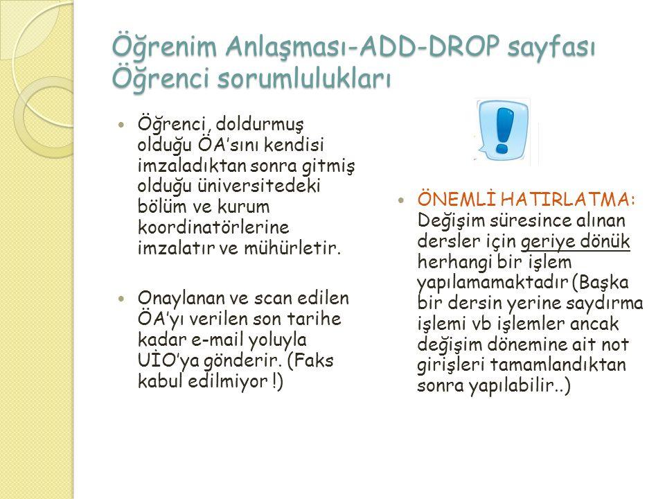 Öğrenim Anlaşması-ADD-DROP sayfası Öğrenci sorumlulukları