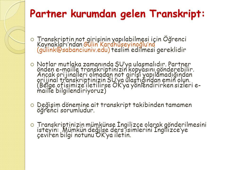 Partner kurumdan gelen Transkript: