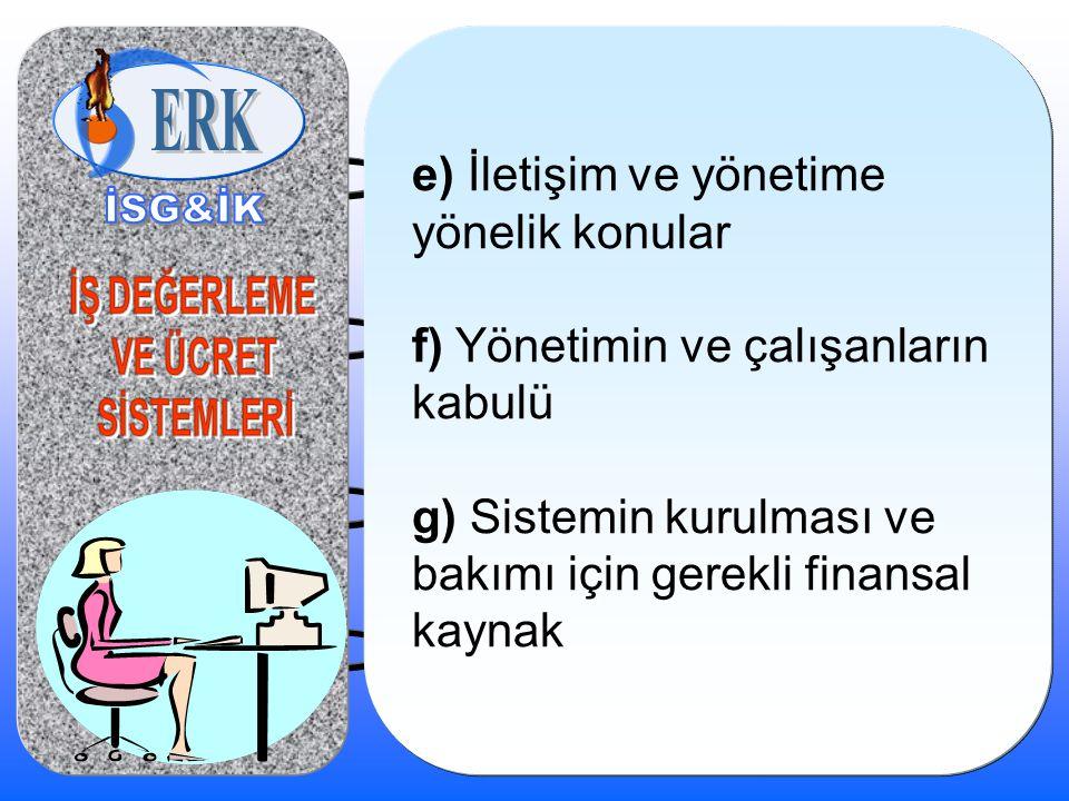 e) İletişim ve yönetime yönelik konular