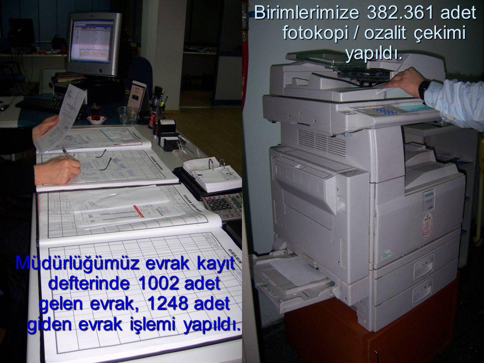 Birimlerimize 382.361 adet fotokopi / ozalit çekimi yapıldı.