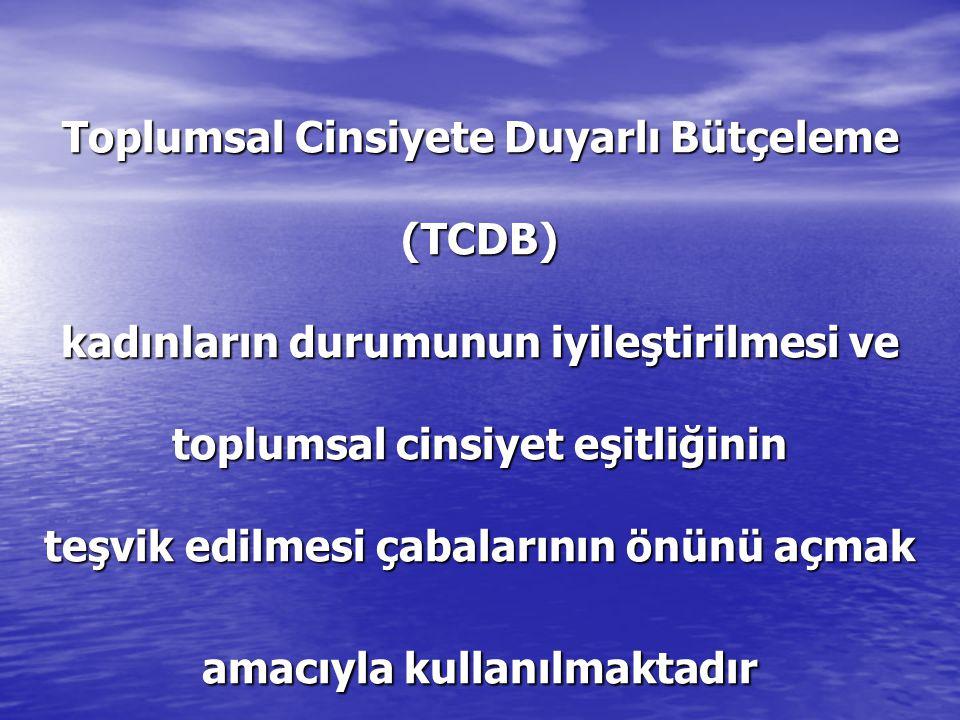 Toplumsal Cinsiyete Duyarlı Bütçeleme (TCDB) kadınların durumunun iyileştirilmesi ve toplumsal cinsiyet eşitliğinin teşvik edilmesi çabalarının önünü açmak amacıyla kullanılmaktadır