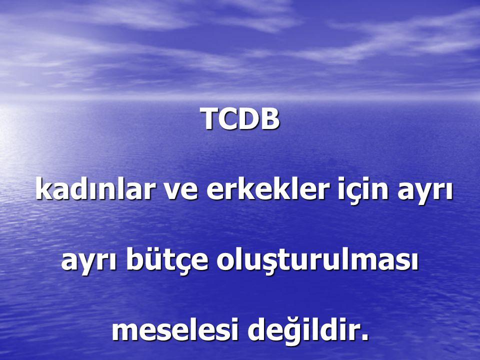 TCDB kadınlar ve erkekler için ayrı ayrı bütçe oluşturulması meselesi değildir.