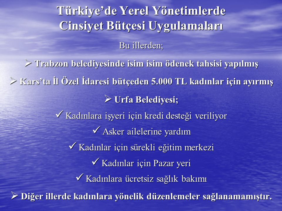 Türkiye'de Yerel Yönetimlerde Cinsiyet Bütçesi Uygulamaları