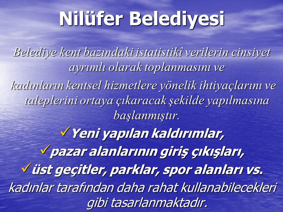 Nilüfer Belediyesi Belediye kent bazındaki istatistikî verilerin cinsiyet ayrımlı olarak toplanmasını ve.