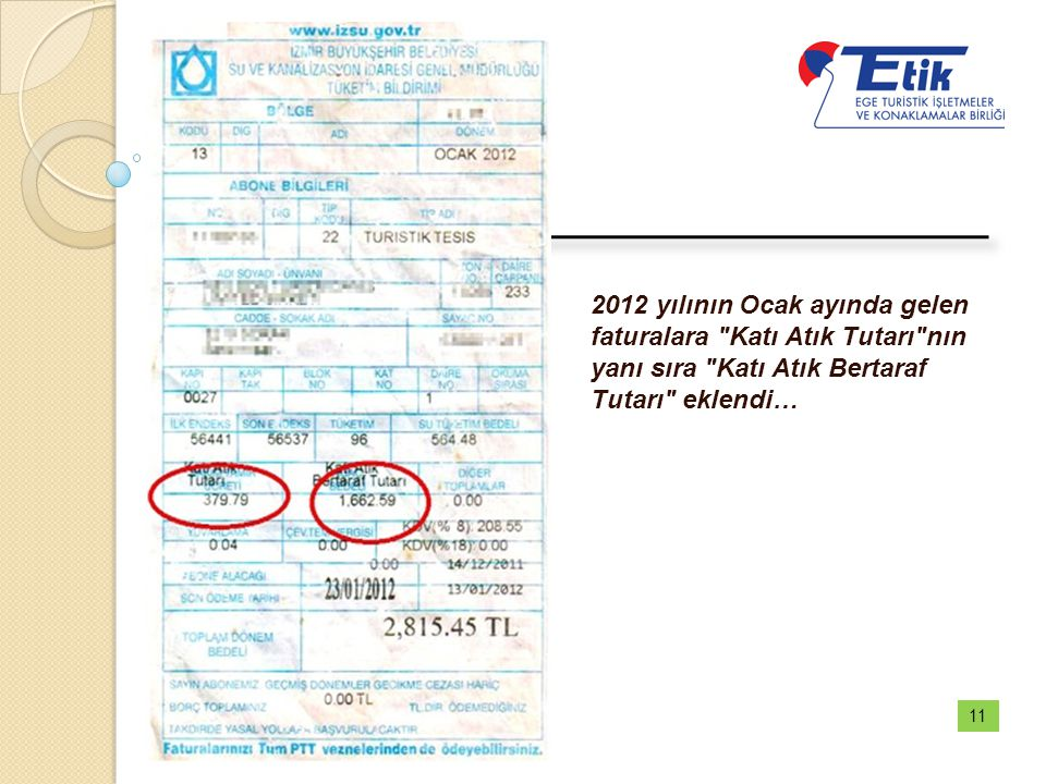2012 yılının Ocak ayında gelen faturalara Katı Atık Tutarı nın yanı sıra Katı Atık Bertaraf Tutarı eklendi…