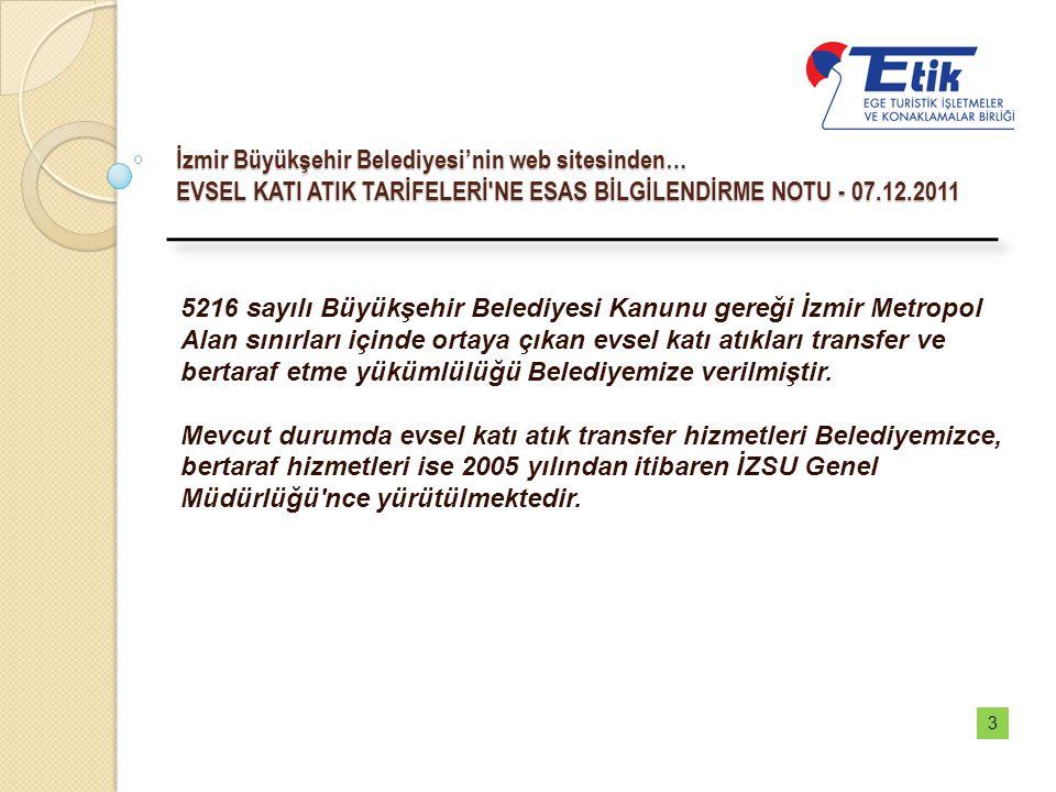 İzmir Büyükşehir Belediyesi'nin web sitesinden… EVSEL KATI ATIK TARİFELERİ NE ESAS BİLGİLENDİRME NOTU - 07.12.2011