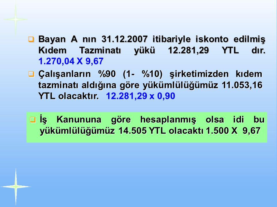 Bayan A nın 31.12.2007 itibariyle iskonto edilmiş Kıdem Tazminatı yükü 12.281,29 YTL dır. 1.270,04 X 9,67