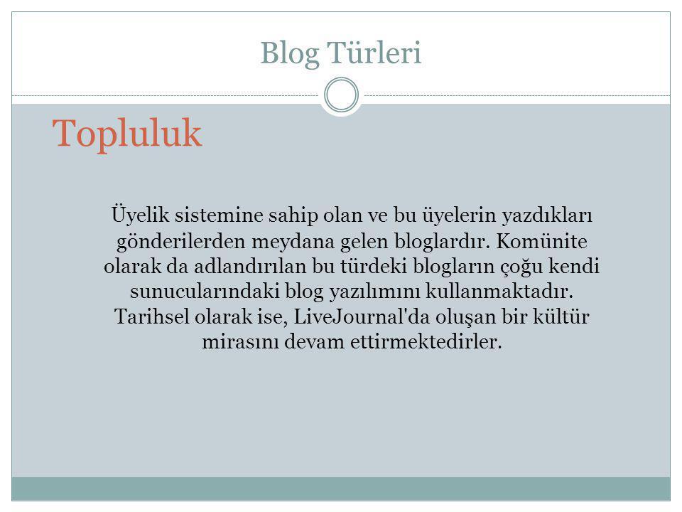Blog Türleri Topluluk.