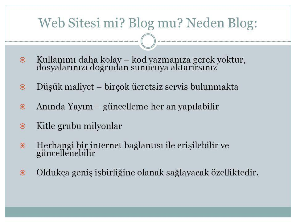 Web Sitesi mi Blog mu Neden Blog:
