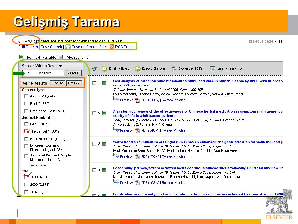Gelişmiş Tarama hospice.  Naturally, this will result in a large number of articles.