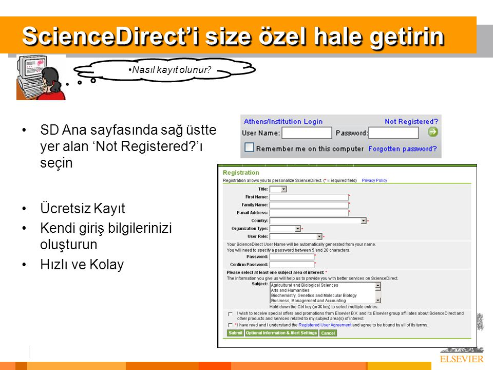 ScienceDirect'i size özel hale getirin