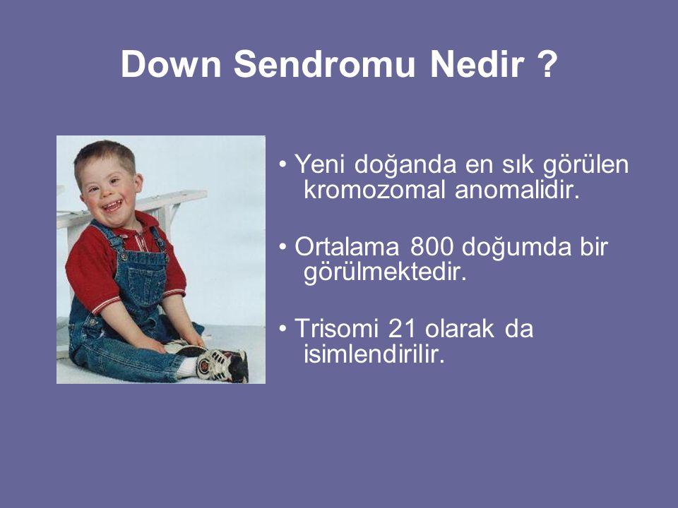 Down Sendromu Nedir • Yeni doğanda en sık görülen kromozomal anomalidir. • Ortalama 800 doğumda bir görülmektedir.
