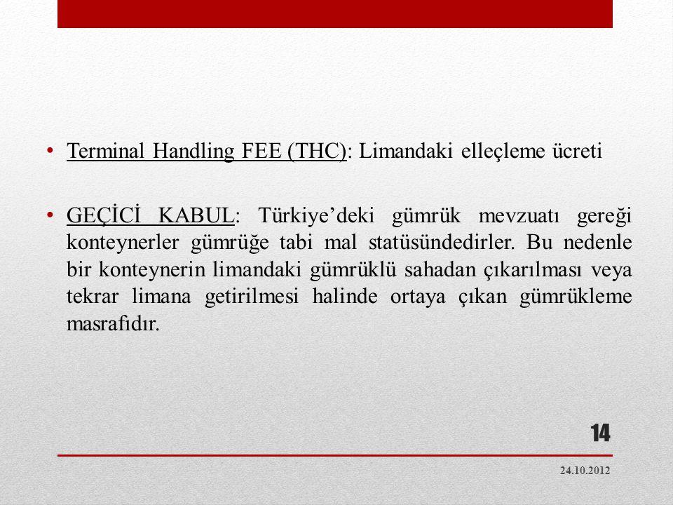 Terminal Handling FEE (THC): Limandaki elleçleme ücreti