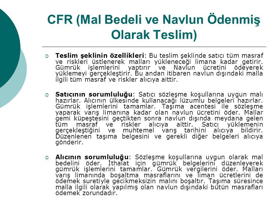 CFR (Mal Bedeli ve Navlun Ödenmiş Olarak Teslim)