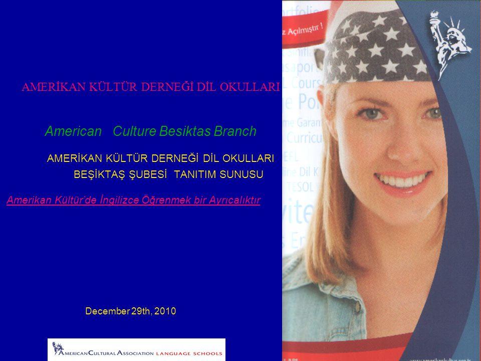 AMERİKAN KÜLTÜR DERNEĞİ DİL OKULLARI American Culture Besiktas Branch AMERİKAN KÜLTÜR DERNEĞİ DİL OKULLARI BEŞİKTAŞ ŞUBESİ TANITIM SUNUSU Amerikan Kültür'de İngilizce Öğrenmek bir Ayrıcalıktır