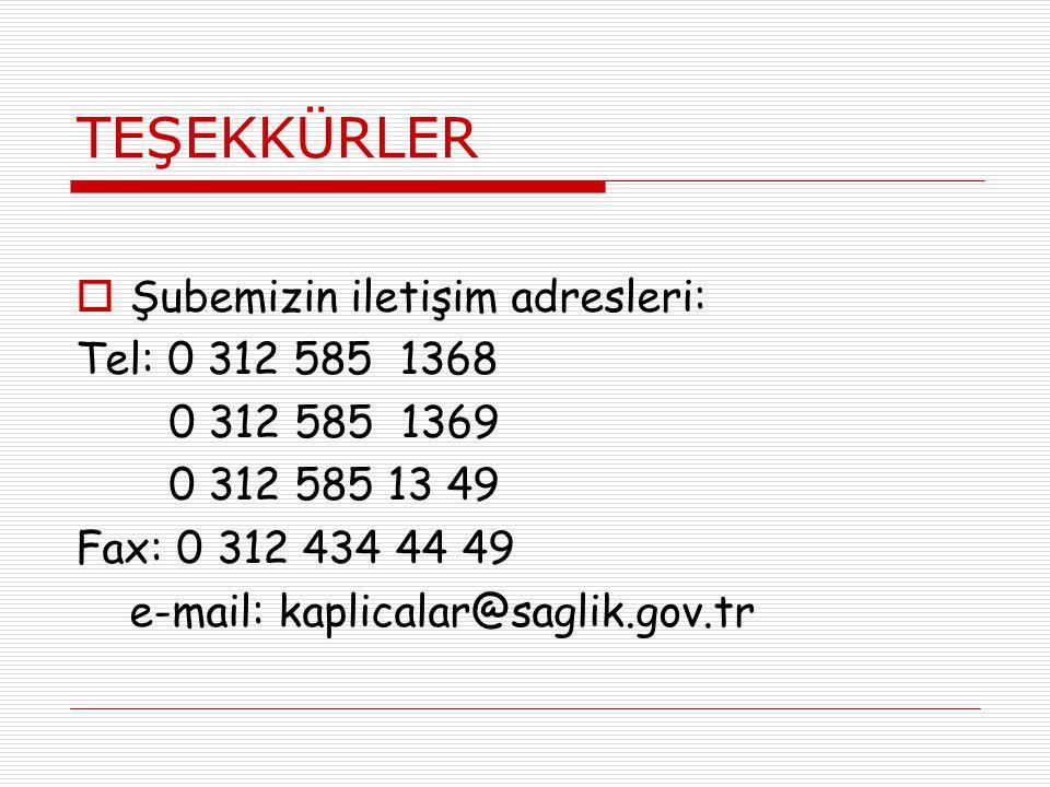 TEŞEKKÜRLER Şubemizin iletişim adresleri: Tel: 0 312 585 1368