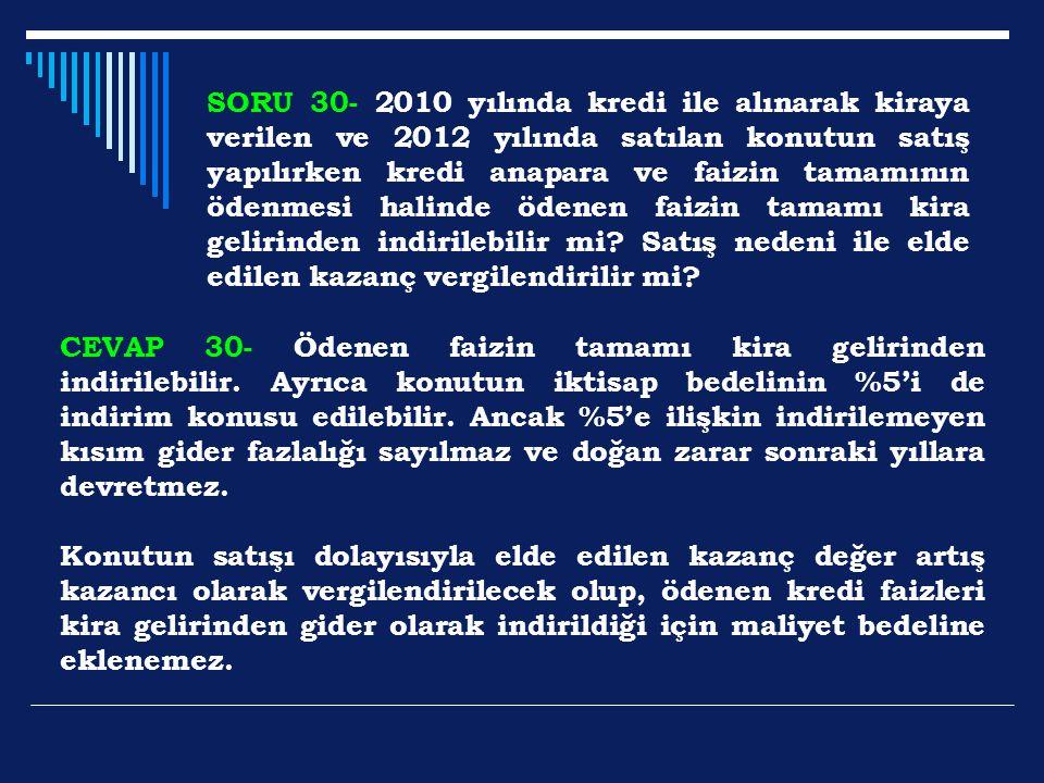 SORU 30- 2010 yılında kredi ile alınarak kiraya verilen ve 2012 yılında satılan konutun satış yapılırken kredi anapara ve faizin tamamının ödenmesi halinde ödenen faizin tamamı kira gelirinden indirilebilir mi Satış nedeni ile elde edilen kazanç vergilendirilir mi