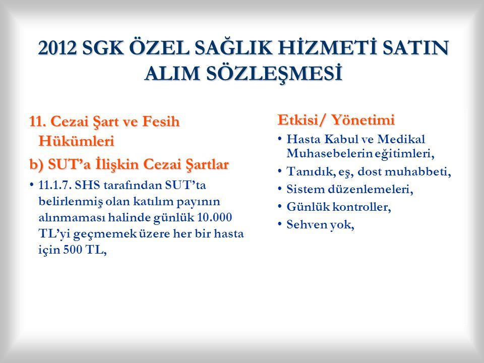 2012 SGK ÖZEL SAĞLIK HİZMETİ SATIN ALIM SÖZLEŞMESİ
