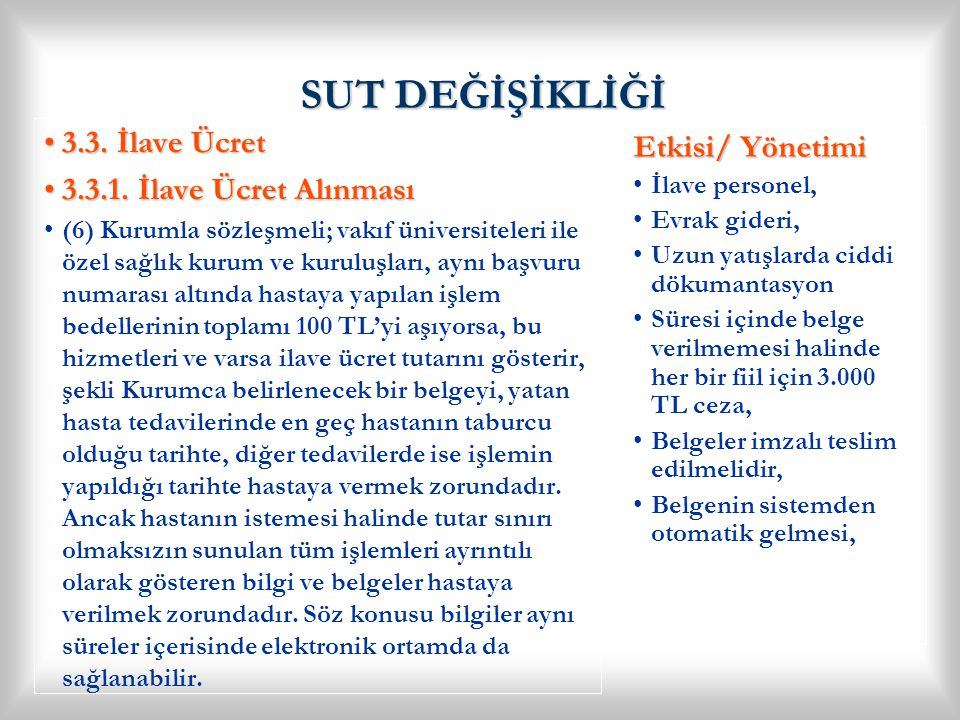 SUT DEĞİŞİKLİĞİ 3.3. İlave Ücret Etkisi/ Yönetimi