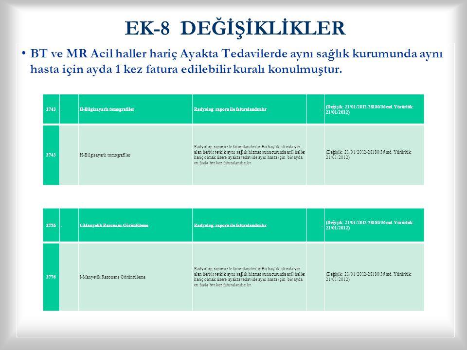 EK-8 DEĞİŞİKLİKLER