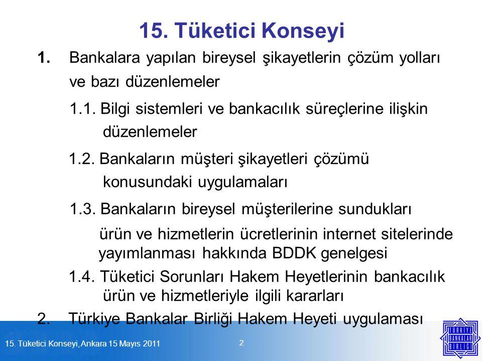 15. Tüketici Konseyi 1. Bankalara yapılan bireysel şikayetlerin çözüm yolları ve bazı düzenlemeler.