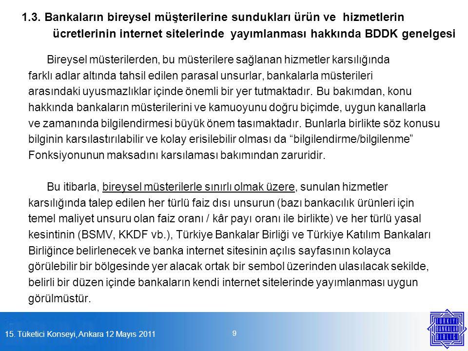 1.3. Bankaların bireysel müşterilerine sundukları ürün ve hizmetlerin ücretlerinin internet sitelerinde yayımlanması hakkında BDDK genelgesi