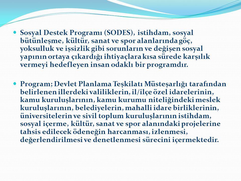 Sosyal Destek Programı (SODES), istihdam, sosyal bütünleşme, kültür, sanat ve spor alanlarında göç, yoksulluk ve işsizlik gibi sorunların ve değişen sosyal yapının ortaya çıkardığı ihtiyaçlara kısa sürede karşılık vermeyi hedefleyen insan odaklı bir programdır.