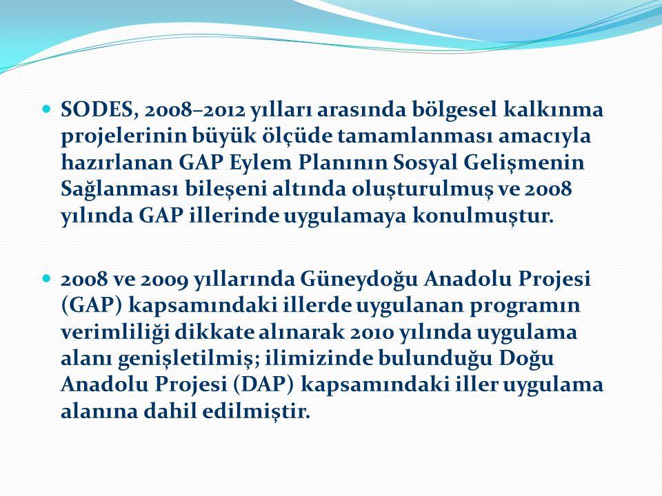 SODES, 2008–2012 yılları arasında bölgesel kalkınma projelerinin büyük ölçüde tamamlanması amacıyla hazırlanan GAP Eylem Planının Sosyal Gelişmenin Sağlanması bileşeni altında oluşturulmuş ve 2008 yılında GAP illerinde uygulamaya konulmuştur.