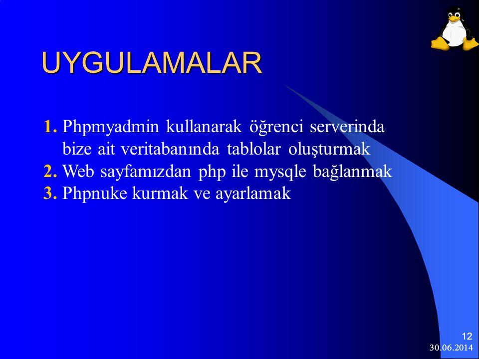 UYGULAMALAR 1. Phpmyadmin kullanarak öğrenci serverinda