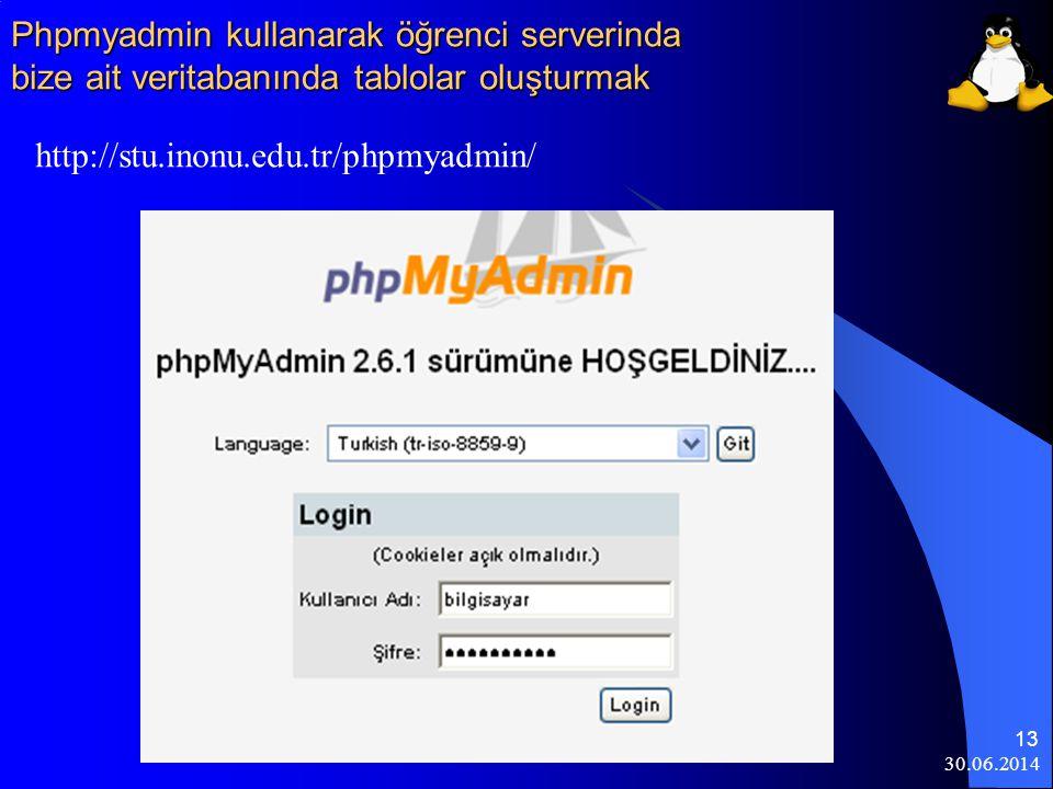 Phpmyadmin kullanarak öğrenci serverinda bize ait veritabanında tablolar oluşturmak