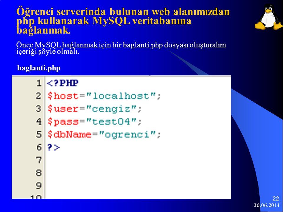 Öğrenci serverinda bulunan web alanımızdan php kullanarak MySQL veritabanına bağlanmak. Önce MySQL bağlanmak için bir baglanti.php dosyası oluşturalım içeriği şöyle olmalı.