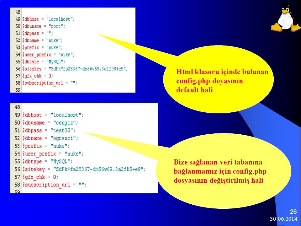 Html klasoru içinde bulunan config.php doyasının default hali