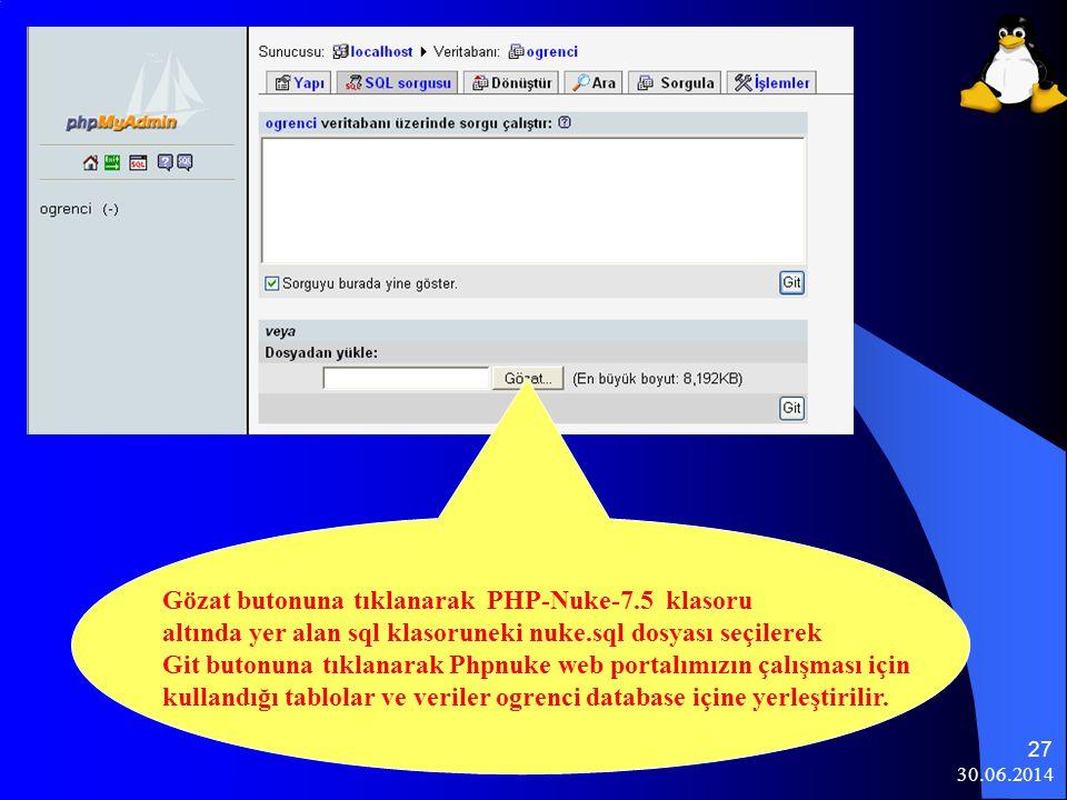 Gözat butonuna tıklanarak PHP-Nuke-7