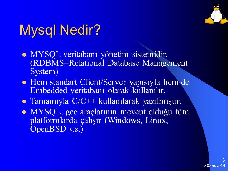 Mysql Nedir MYSQL veritabanı yönetim sistemidir. (RDBMS=Relational Database Management System)