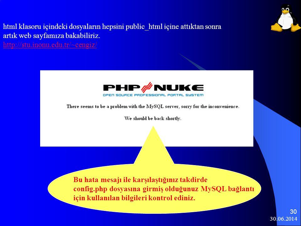 html klasoru içindeki dosyaların hepsini public_html içine attıktan sonra artık web sayfamıza bakabiliriz. http://stu.inonu.edu.tr/~cengiz/