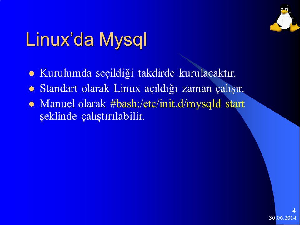 Linux'da Mysql Kurulumda seçildiği takdirde kurulacaktır.
